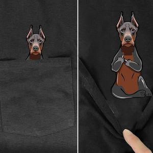 Funny Doberman Middle Finger Pocket Tee Dog Pet Ow